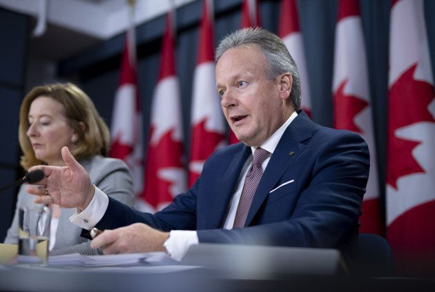 Bank of Canada Governor Stephen Poloz (right) with deouty governor Carolyn Wilkins at a press conference in Ottawa, Wed. Oct. 24, 2018.