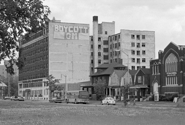 """A """"Boycott GM"""" sign hangs from a building in the Poletown neighbourhood of Detroit, Mich. in 1982. The community was razed to make room for a General Motors plant."""