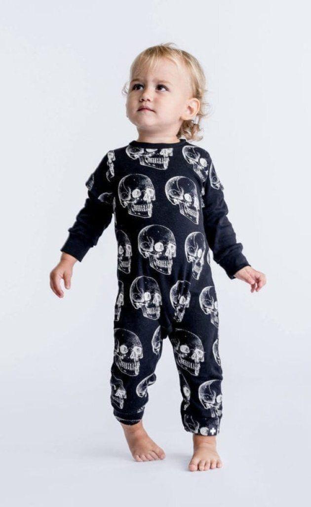 A skull playsuit from Céline Dion's gender-neutral clothing line, Célinununu.