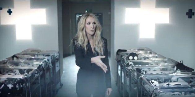 Céline Dion blows black glitter on newborns in a commercial for Célinununu.