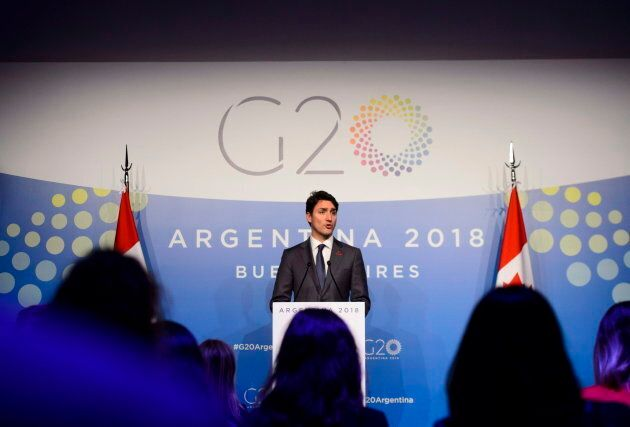 PM Trudeau holds a closing press conference in Buenos Aires, Argentina on Dec. 1,