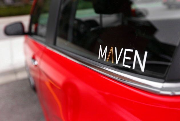 The Maven logo on a General Motors car-sharing service automobile in Ann Arbor, Mich., on Apr. 27, 2016....