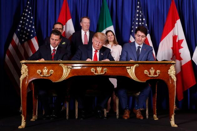 President Trump, PM Trudeau and Mexico's President Enrique Pena Nieto at the USMCA signing ceremony on...