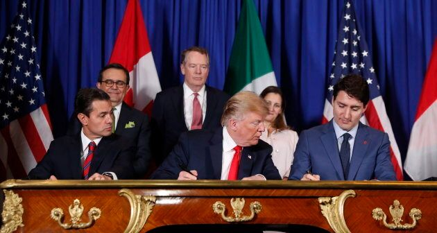 Former President of Mexico Enrique Pena Nieto, left, U.S. President Donald Trump, and Prime Minister...
