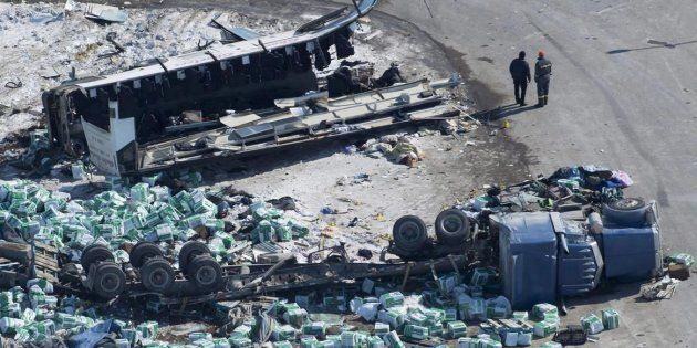 The wreckage of a fatal bus crash carrying members of the Humboldt Broncos hockey team is shown outside...