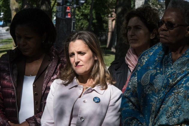 Canadian Foreign Minister Chrystia Freeland and other foreign ministers commemorate victims of gender and sexual-based violence by remembering the Ecole Polytechnique massacre in Montreal, Canada, on Sept. 22, 2018.