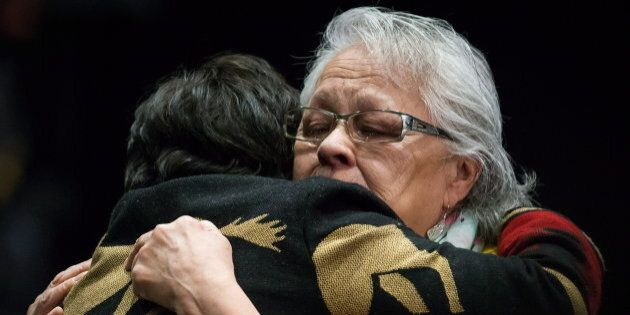 Emotional embraces at the final day of hearings at the National Inquiry into Missing and Murdered Indigenous...
