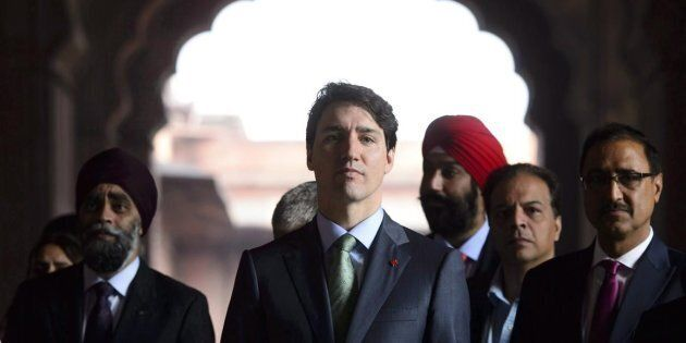 Prime Minister Justin Trudeau visits the Jama Masjid Mosque in New Delhi, India on Thursday, Feb. 22,