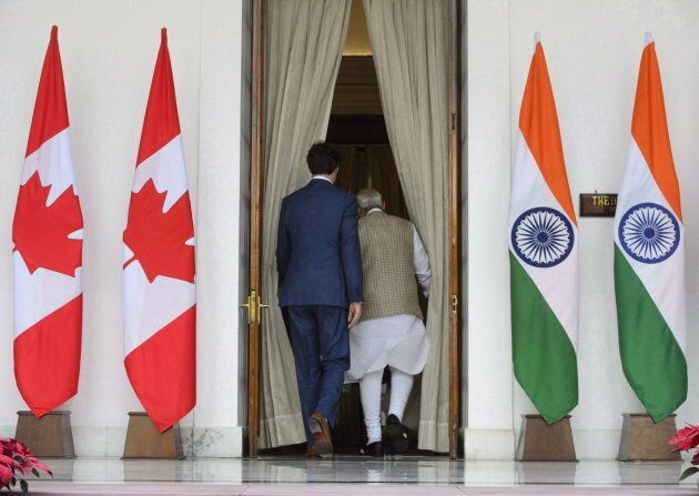 Trudeau meets with Prime Minister of India Narendra Modi at Hyderabad House in New Delhi, India on Feb....