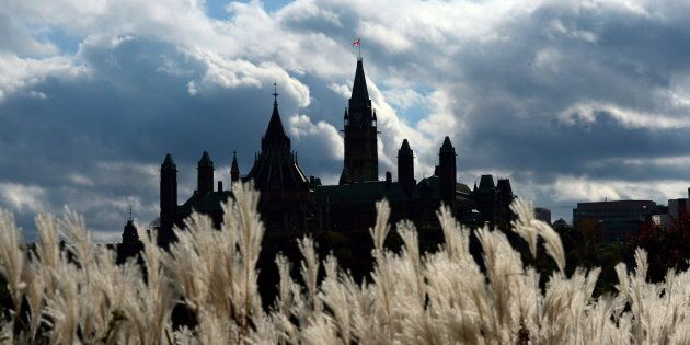 Parliament Hill in Ottawa is viewed from Gatineau, Que., on Oct. 22,