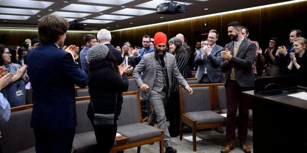 NDP Leader Jagmeet Singh prepares to address NDP staffers as they gather for their annual Staff Forum...