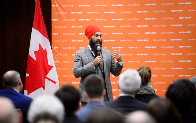 NDP Leader Jagmeet Singh delivered a campaign-style speech to party staff at a forum on Parliament Hill...