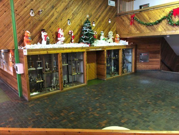 Leaf Rapids' council chambers, decorated for the holidays.