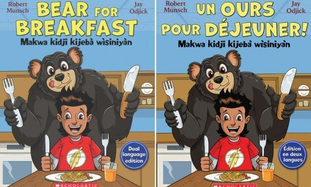 "The English/Algonquin and French/Algonquin covers of ""Bear for Breakfast"""