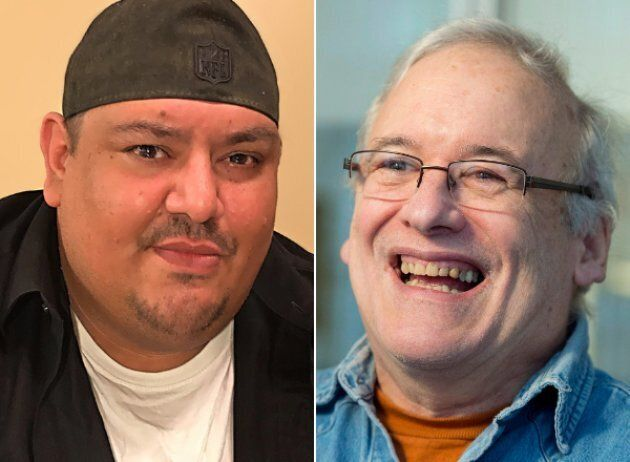 Jay Odjick, left, and Robert Munsch, right, both waived their rights to royalties for their first collaboration,...