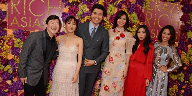 Some of the 'Crazy Rich Asians' cast at a screening in London, U.K: From left to right, Ken Jeong, Constance...