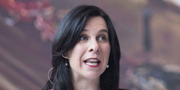 Montreal Mayor Valerie Plante speaks during a news conference in Montreal on April 26,