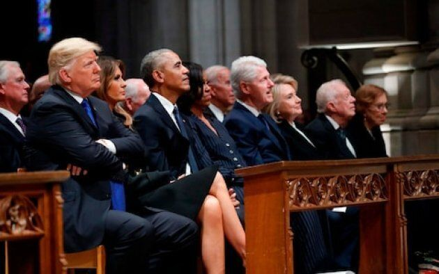 Former President George W Bush delivered a touching eulogy to his father, President George H,W, Bush...