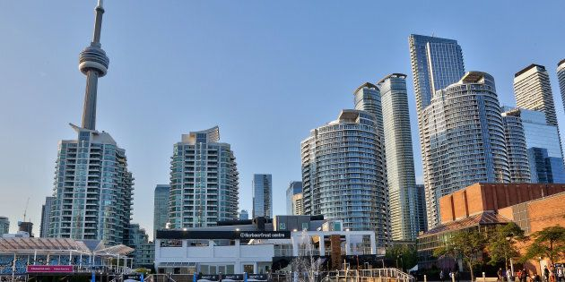 The CN Tower and condominium buildings along the waterfront in Toronto. The city's housing market had...
