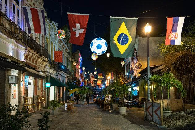 Rio's Lavradio street is decorated with country flags during the World Cup 2018 in Rio de Janeiro,