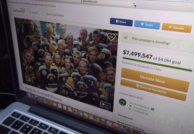 A GoFundMe page for the Humboldt Broncos is seen on a computer on Apr. 10,
