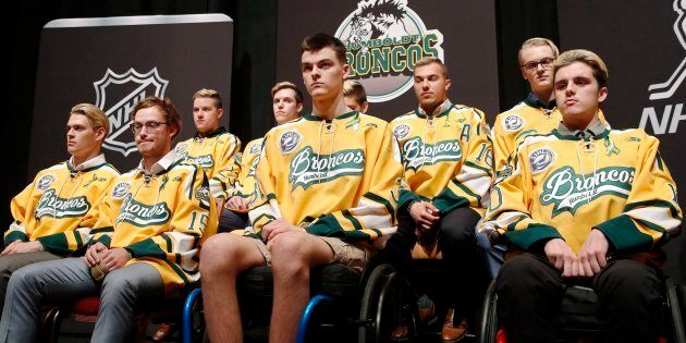 Members of the Humboldt Broncos hockey team attend a news conference in Las Vegas in this June 19, 2018...