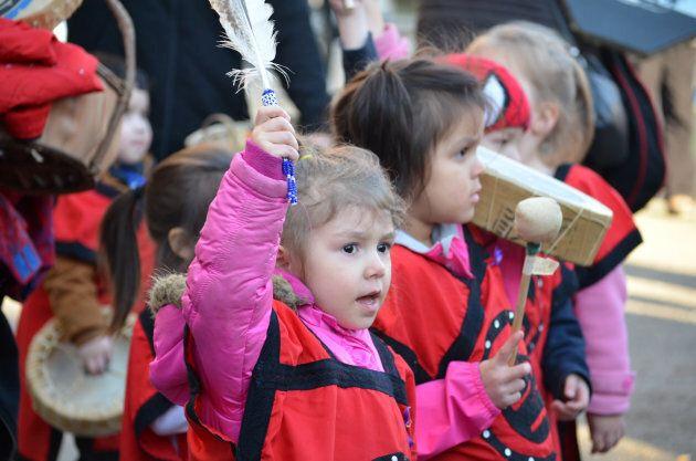 Eagle's Nest Aboriginal Head Start Preschool at the Women's March in 2018.
