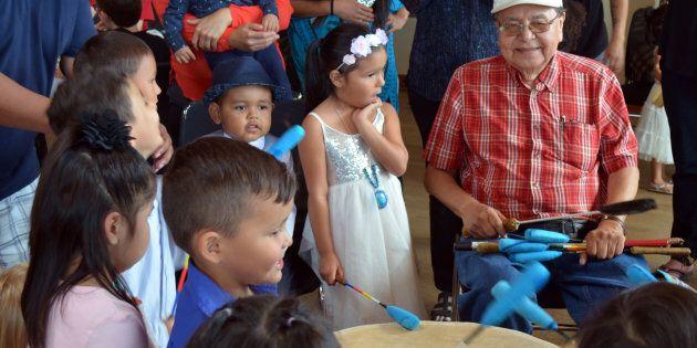 Elder Fred John at Singing Frog Aboriginal Head Start Preschool
