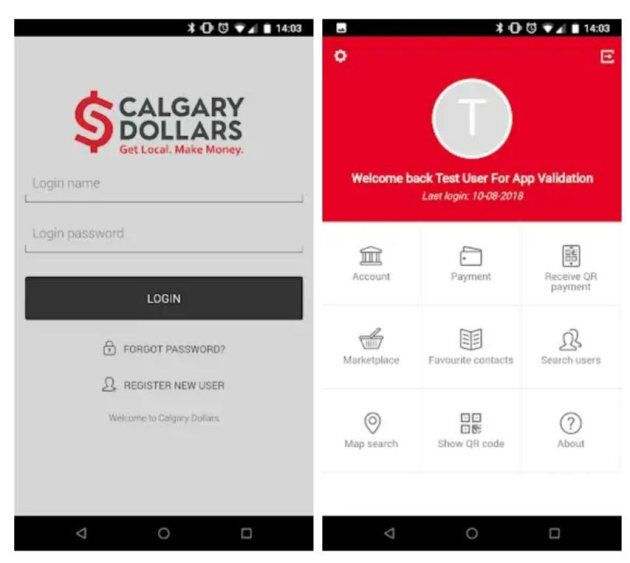 A screenshot of the Calgary Dollars app, now available on iPhone and Android.