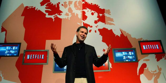 Netflix CEO Reed Hastings speaks during the launch of Netflix's streaming service in Canada, Toronto,...