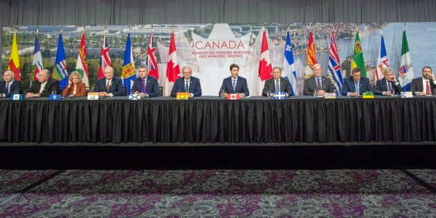 Canadian premiers and the prime minister speak to the media at the First Ministers closing news conference...