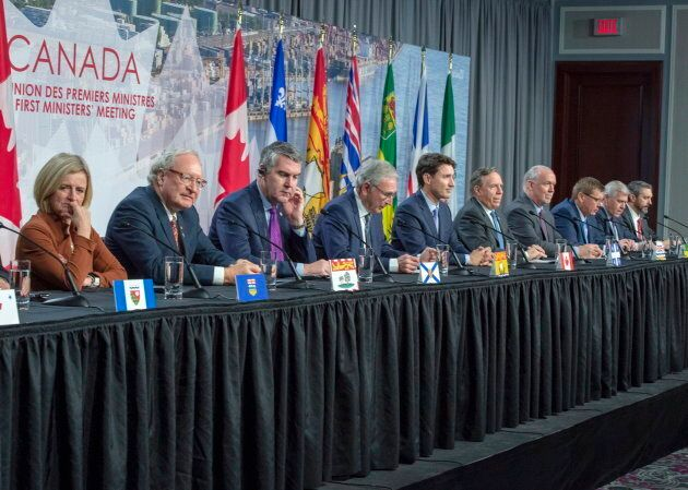 Prime Minister Justin Trudeau and Canada's premiers speak at a press conference after the first ministers'...