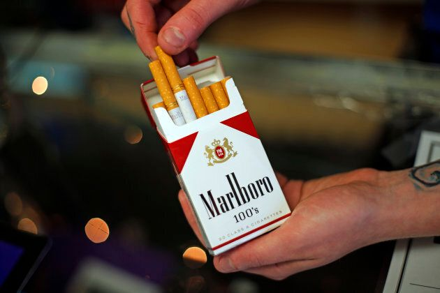 This July 17, 2015, file photo, shows a pack of Marlboro cigarettes, an Altria brand, at a Smoker Friendly...