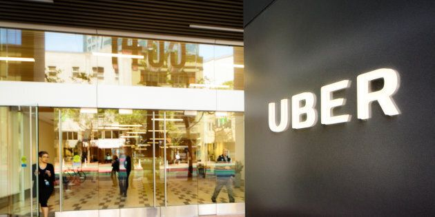 Uber headquarters entrance in San Francisco with sign on the