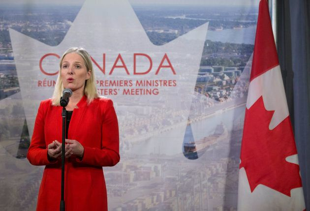 Federal Environment Minister Catherine McKenna speaks to the press following the First Ministers' Meeting in Montreal, Dec. 7, 2018.
