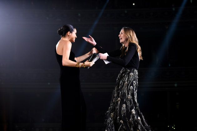 Meghan Markle presents the award for British Designer of the Year to Clare Waight Keller for Givenchy...