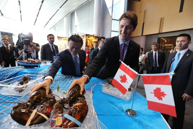 Prime Minister Justin Trudeau picks up a lobster during a meeting with Jack Ma, Chairman and chief executive...