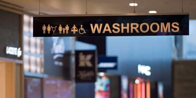 A sign for All Gender and Accessible Washrooms at Yorkdale Mall in Toronto on Tuesday December 11,