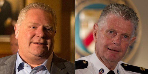 Ontario Premier Doug Ford says he wasn't involved in selecting family friend Ron Taverner, right, as...