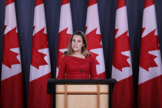 Canada's Foreign Affairs Minister Chrystia Freeland speaks during a news conference in Ottawa on Dec. 12, 2018.