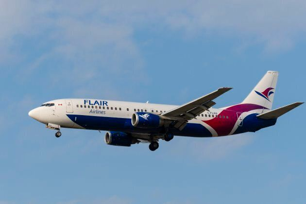 A Flair Airlines Boeing 737 at Vancouver International Airport, Richmond, B.C. on Aug. 29,