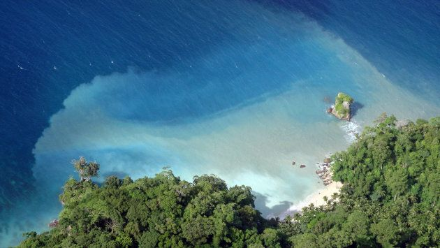 Aerial view of a beach in Andaman and Nicobar Islands, India.