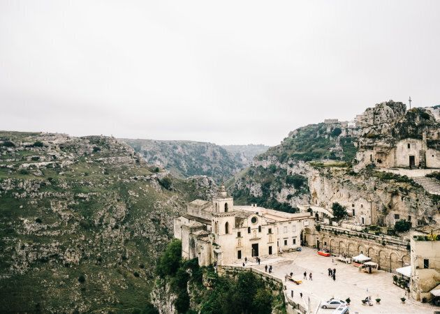 An old church in the mountains in Matera, Italy.