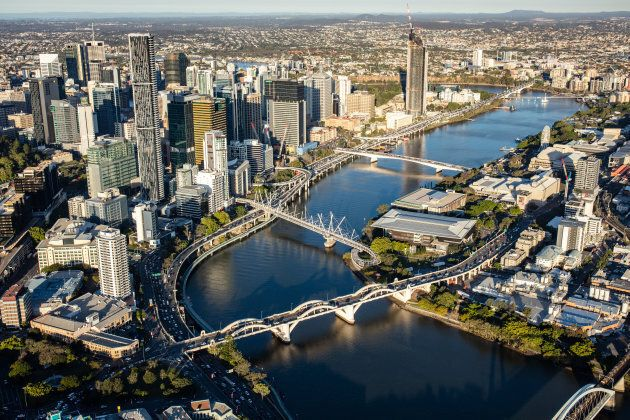 A helicopter view of the city of Brisbane, Australia.
