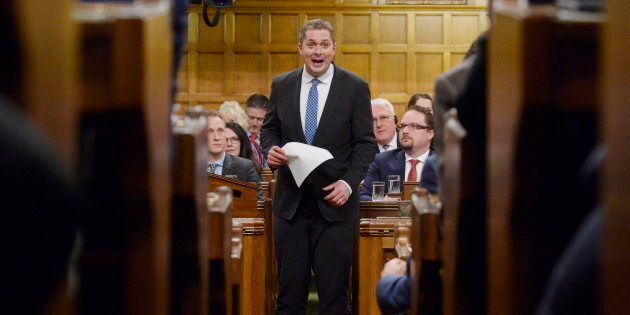 Tory Leader Andrew Scheer rises during question period in the House of Commons on Parliament Hill in...