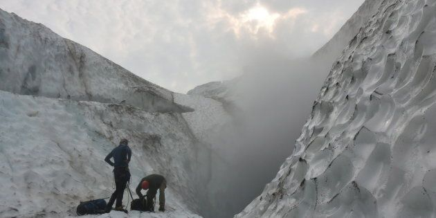Climate change is causing glaciers atop Mount Meager, in British Columbia, to shrink. Scientists are...