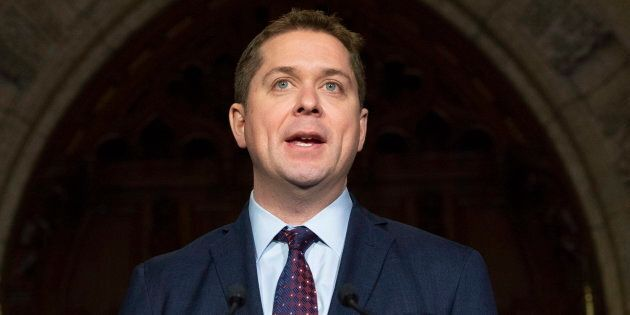Opposition Leader Andrew Scheer holds an end of session news conference in the Foyer of the House of...