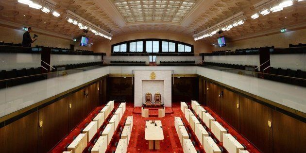 The new temporary Senate Chamber is shown during a media tour in Ottawa on Thursday, December 13, 2018....