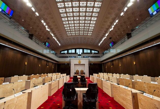 The new temporary Senate chamber at the Senate of Canada Building, formerly the Government Conference...