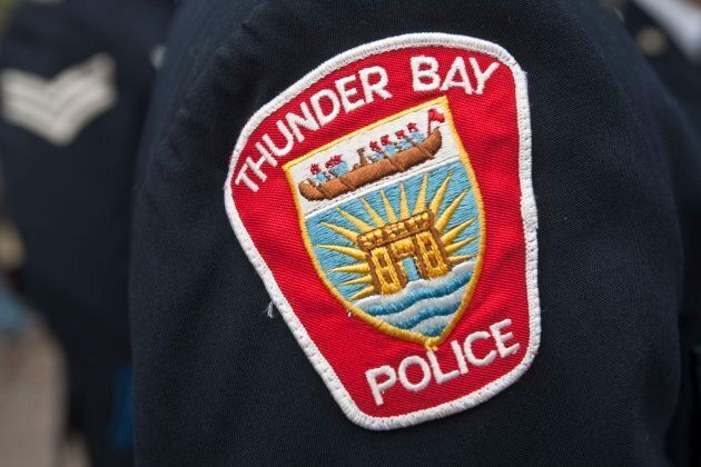 Thunder Bay Police badge is seen during a police memorial parade in Ottawa on Sept. 26,